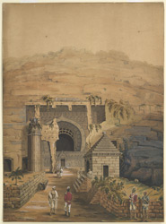 Entrance to the cave temple of Karle. Copy of an original sketch of 1805